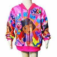 (In Stock) Retail Children Dora Style Hooded kids coats girls, Baby Girls Winter Cartoon Jacket, Baby Garment Outerwear TS0017S