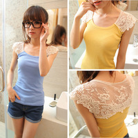 C-033 New 2014 Fashion Women's T-shirt Summer Sexy Candy Color Hollow Out Lace Flower Vest  Short Sleeve Shirts Sexy