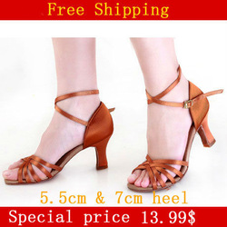 5.5cm or 7cm heel Drop shipment and free shipping ! lady five belt satin ballroom latin shoes,salsa tango sandal dance shoes(China (Mainland))