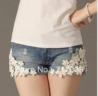 The new summer 2013 delicate beautiful pearl lace flower broken copper jean shorts hot pants 320Free shipping