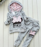 Sport style girl suit/ long sleeve hoodie +long pants/ children knitted sportswear