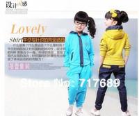 Hot new Korean version children's clothing girls cotton fashion leisure suit spider 120-160