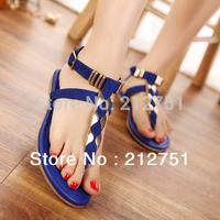 2014 Hot Slippers Summer Sandals Flat Flip Flops Procrastinate Black Blue Size 35-41 T-Strap Rivet Fashion Women Sandals