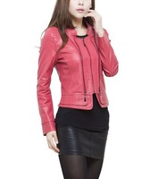 2012 women's genuine leather jacket women sheepskin short design coat leather outerwear L XL 2XL 3XL 4XL 5XL  free shipping