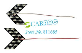 2pcs 3 Colors 14-SMD LED Arrow Panels Light For Car Side Mirror Turn Signal Indicator Light hot sale 30