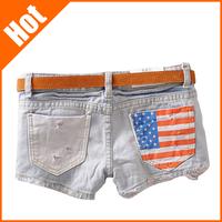 Hot-selling new 2014 women summer Fashion Stars Stripes US Flag Classical Summer Denim women hole shorts/hot Jeans