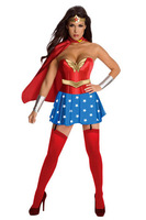 Free Shipping! 2013 Star Girl Wonder Woman Adult Costume Sexy Super Sensation Hero Cosplay Party Costume Adult Fancy Dress 2619