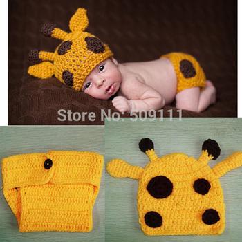 Hot style crochet baby set Knit Baby girl Hat + diaper sets kids photogryphy props Newborn Baby Deer Beanie 1set H255