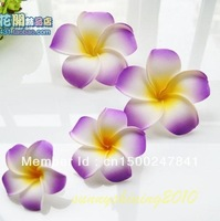 free shipping + good quality 50pcs Large  Purple  Fabulous Hawaiian foam frangipani flowers wedding party decor 8CM