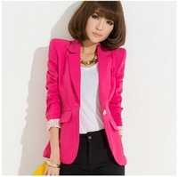 Free Shipping 2013 Autumn new fashion high quality candy color casual one button women's blazer slim women's suits jackets B315