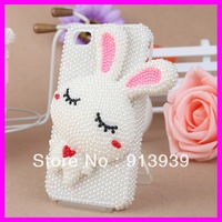 Newest !!!Free Shipping (2 pieces/lot)3D  Cute Rabbit   Phone case For Iphone4/4s  2013 Pearl Decrate   phone  Case