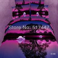 For unique wedding 4pcs printed 3d bedding set purple Duvet/Quilt cover bedsheet bed Linen sets king queen double bed size