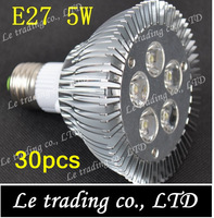30pcs/lot E27 PAR30 5W LED Spotlight Light Bulb Lamp AC85-265V High Power Free shipping