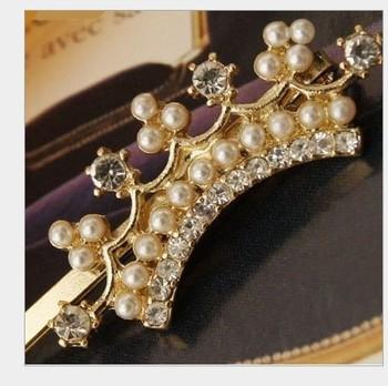 Free shipping wholesale crystal crown hairpins barrettes grips women girls hair clips hair accessories headwear hair ornaments