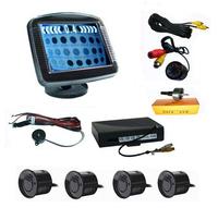 "Car Video Parking Sensor 3.5"" TFT LCD Monitor Display + Car Rear View Camera 4 Sensors Reversing Aid System"