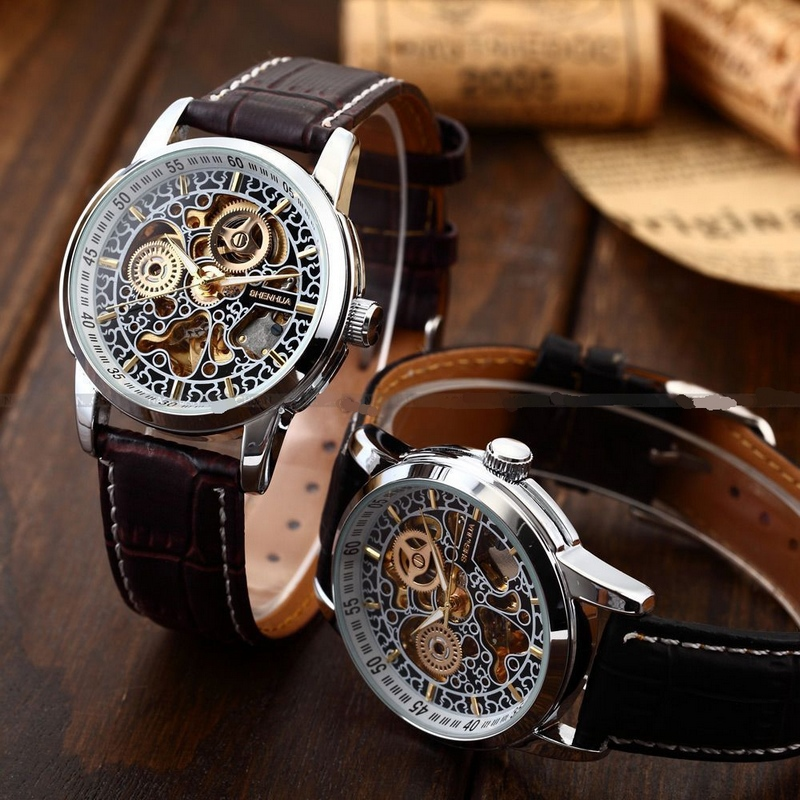 Best Vintage Collection!Classic Stainless Bezel SKELETON Dial Men Automatic Mechanical Genuine Leather Band Wrist Watch(China (Mainland))