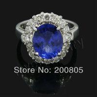 Vintage 18k White Gold Natural Diamond Engagement Wedding Blue Tanzanite Ring