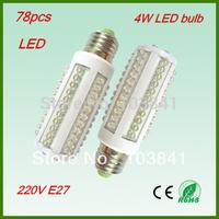 Wholesale Free shipping Ultra bright led corn light bulb  220V E27 4W LED lighting with 78pcs led 360 degree led lamp 4pcs/lot