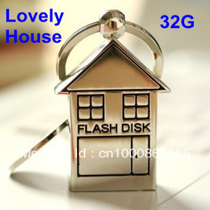 16G 32G keychain metal lovely house and mickey mouse shape usb flash drive pen drive memory stick