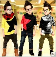 Free shipping wholesale child clothing 2014 autumn long sleeves warm stars sweatshirts boys turtleneck five-pointed star Tees