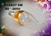 on sale E14/E27 Silver Candle LED Light Lamp Bulb 6W 85~265V Warm White/ Cool White , Free Shipping