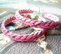 100pcs/lot modern stylish cotton  bracelet for lady 2 colors weave bracelet free shipping