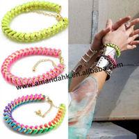 100pcs/lot fluorescence color  bracelet for lady ,3 colors metal  bracelet ,coloful morden bracelet.