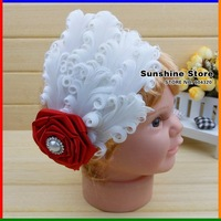 Sunshine store #2B2239  retail 1 pcs girls baby headband diamond/pearl satin Rosette flower white feather headband free CPAM