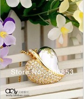 N104  Fashion Crystal Leaves Heart USB 2.0 Enough Memory Stick Flash pen Drive 4GB/ 8GB/16GB/32GB Free Shipiing