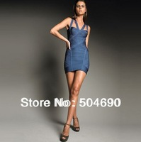 Top Quality Sexy Cross-Neck Dark Blue HL Bandage Dress Cocktail Dress Retail And Whosale Cheap Brand Party Evening Dresses XS-L