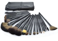 Free shipping Professional 24pcs/Set Portable Beauty makeup brushes professional kit Makeup Brushes Set with Black Bag - Black