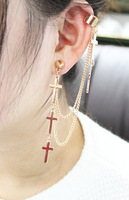 2013 Free Shipping Cross Ear Cuff Tassel Spike Rivet Punk Drop Earring For Women And Girl (E272)