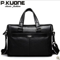 Free shipping P . kuone man bag commercial male handbag genuine leather shoulder bag casual briefcase leather handbags