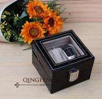 free shipping 10.5*10.5cm high quality 2-position leather watch box