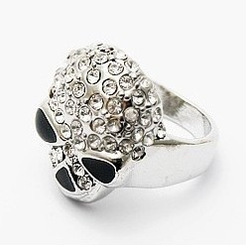 KEL1070 TVXQ Luo favorite full skull ring star cool ring chinse jewelry gift women girls JZ-043(China (Mainland))
