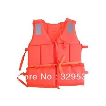 Bulk Whoesale Professional Orange Foam Swimming&Flood  Life Jacket with Whistle Free Shipping