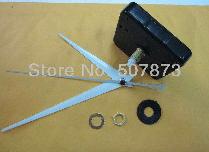 DIY wall clock accessories 100Set Long axis Quartz Clock Movement Kit Silent Sweep Mechanism Shaft 20mm white hands BJ010(China (Mainland))