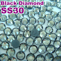 ss30 6mm Hot fix rhinestone 288pcs/bag black diamond color hotfix transfer stones for clothing Free shipping flatback with glue