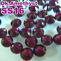Free Shipping,Big Promotion!Hotfix Rhinestone,ss16,Color dk amethyst,iron-on transfer hot fix crystal stone for clothing