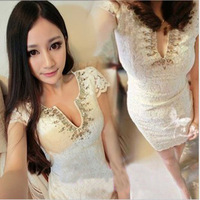 Spring new arrival fashion women's tight slim hip sexy lace one-piece dress