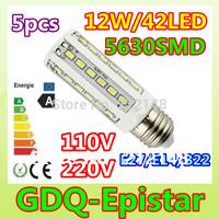 Free shipping 5x 12W 42LED 5630 SMD E27 E14 B22 Corn Bulb Light Maize Lamp LED Light Bulb Lamp LED Lighting White/Warm White
