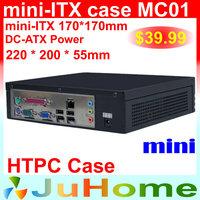 HTPC Mini-ITX case, 220*220*55mm, Ultra-thin, mini case of home theatre computer, on Car PC case, mini ITX case CC