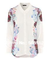 BS-008  Women's floral print chiffon brand shirt, stylish blouses, long sleeve