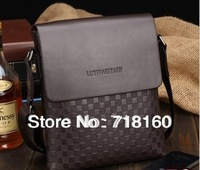 2013 Hot Fashion PU leather bags black and brown men's business briefcase shoulder bag messenger bags free shipping