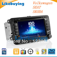 7 inch Car DVD GPS 2 Din For Volkswagen Passat,CC,GOLF,Scirocco,CADDY,POLO,TIGUAN,TOURAN,Jatta,SEAT,Skoda, Free 8G Map
