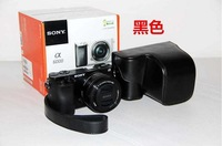 Black Leather Camera Case Bag Cover For Sony NEX6 NEX-6 NEX7 16-50MM