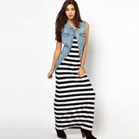 HOT Sale  Summer  Fashion  Women  Dress  Leisure O-Neck   Black  And White Striped  Long Dress  Size  XS~XXL  D078
