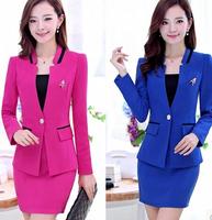 2014 spring slim elegant women's long-sleeve blazer ol career set piece set skirt female  0034