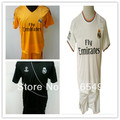 Best quality 2014-2013 Real Madrid away blue Soccer Jersey real madrid orange soccer uniform kit 100% emboidery logo