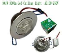 Free shipping Alumium 3X1W 330lm Led Light Ceiling light AC 100-250V